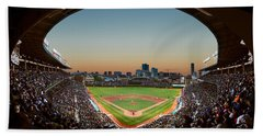 Wrigley Field Night Game Chicago Beach Towel by Steve Gadomski