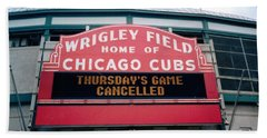 Wrigley Field Weeps For America Beach Towel by Sheri Keith