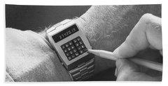 Wristwatch Calculator Beach Towel