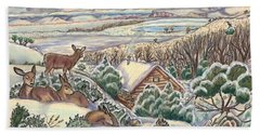 Beach Towel featuring the drawing Wyoming Christmas by Dawn Senior-Trask