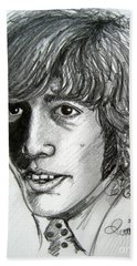 Beach Sheet featuring the drawing Robin Gibb by Patrice Torrillo