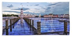 Yacht And Beach Club Lighthouse Beach Towel by Thomas Woolworth