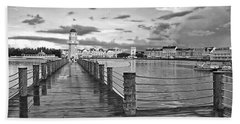 Yacht And Beach Lighthouse In Black And White Walt Disney World Beach Towel by Thomas Woolworth