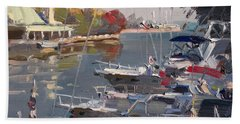 Yacht Paintings Beach Towels