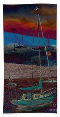 Yachts On The River Beach Towel