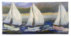 Yachts Sailing Off The Coast Beach Sheet