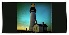 Yaquina Head Lighthouse At Sunset Beach Towel