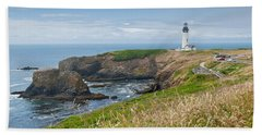 Beach Towel featuring the photograph Yaquina Head Lighthouse by Jeff Goulden