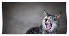 Yawning Cat Beach Towel