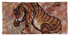 Beach Sheet featuring the painting Year Of The Tiger by Darice Machel McGuire