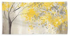 Yellow And Gray Tree Beach Towel