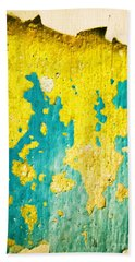 Beach Sheet featuring the photograph Yellow And Green Abstract Wall by Silvia Ganora