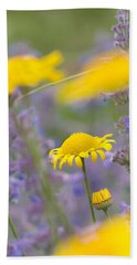 Yellow And Purple Flowers On A Green Summer Meadow Beach Sheet