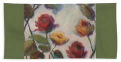 Yellow And Red Roses  Beach Sheet by Mary Wolf