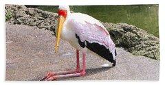 Yellow-billed Heron Beach Towel by Sergey Lukashin