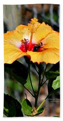 Yellow Bumble Bee Flower Beach Towel