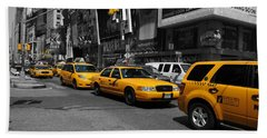 Yellow Cabs Beach Towel by Randi Grace Nilsberg