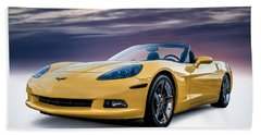 Yellow Corvette Convertible Beach Towel by Douglas Pittman