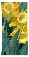 Watercolor Painting Of Blooming Yellow Daffodils Beach Sheet