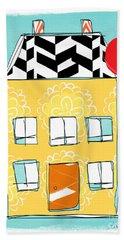 Yellow Flower House Beach Towel