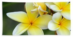 Yellow Frangipani Flowers Beach Sheet
