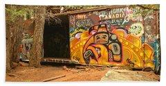 Yellow Graffiti Covered Whistler Train Wreck Beach Towel