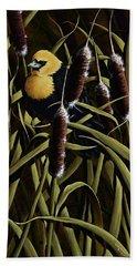 Yellow Headed Blackbird And Cattails Beach Towel