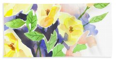 Beach Towel featuring the painting Yellow Magnolias by Kip DeVore