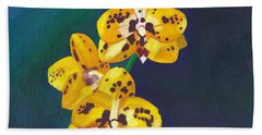 Beach Towel featuring the painting Yellow Orchids by Laura Forde