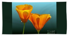 Yellow Poppies Beach Sheet by Rand Herron