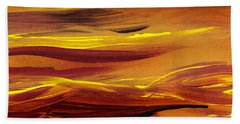 Yellow River Flow Abstract Beach Towel