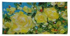 Beach Sheet featuring the painting Yellow Roses by Judith Rhue
