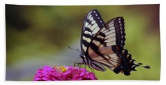 Yellow Tiger Swallowtail Butterfly Beach Sheet by Kay Novy