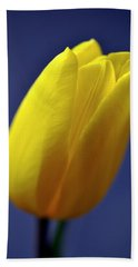 Yellow Tulip On Blue Background Beach Towel