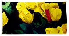 Yellow Tulips Beach Towel