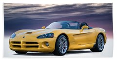 Yellow Viper Convertible Beach Sheet by Douglas Pittman