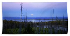 Beach Towel featuring the photograph Yellowstone Moon by Ann Lauwers