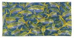 Yellowtail Frenzy In0023 Beach Towel