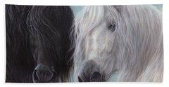 Yin-yang Horses  Beach Towel