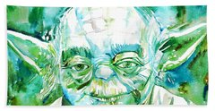 Yoda Watercolor Portrait Beach Sheet by Fabrizio Cassetta