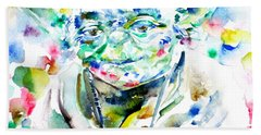 Yoda Watercolor Portrait.1 Beach Sheet by Fabrizio Cassetta