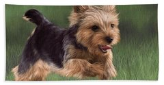 Yorkshire Terrier Painting Beach Towel