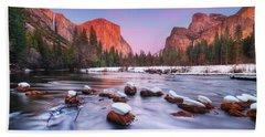 Yosemite Valley At Dusk Beach Towel