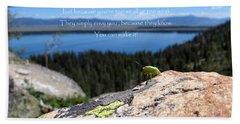 Beach Towel featuring the photograph You Can Make It. Inspiration Point by Ausra Huntington nee Paulauskaite
