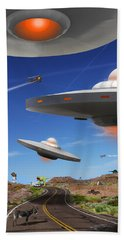You Never Know What You Will See On Route 66 Beach Towel by Mike McGlothlen
