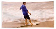 Young Boy Skimboarding, Santa Barbara Beach Towel