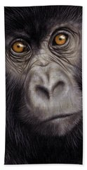 Young Gorilla Painting Beach Towel by Rachel Stribbling