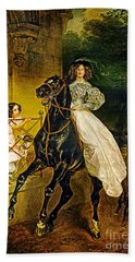 Young Horse Rider Beach Towel