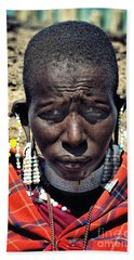 Portrait Of Young Maasai Woman At Ngorongoro Conservation Tanzania Beach Towel
