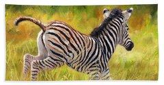 Young Zebra Beach Towel by David Stribbling